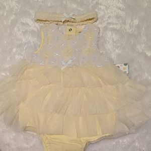 Yellow Baby Girl Romper with Matching Headband